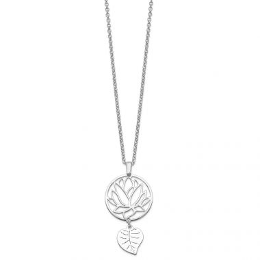 Quality Gold Sterling Silver Rhodium-plated Flower & Leaf Dangle Necklace