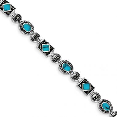 Quality Gold Sterling Silver Rhodium-plated Synth Turquoise and Marcasite Bracelet