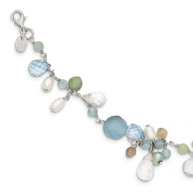 Quality Gold Sterling Silver Lace Agate Opalite Crystal Amazonite FW Cult.Pearl Bracelet