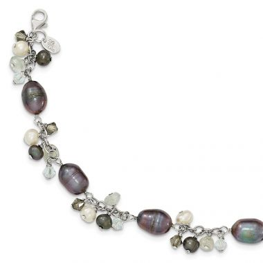 Quality Gold Sterling Silver Crystal  FW Cultured Pearl Bracelet