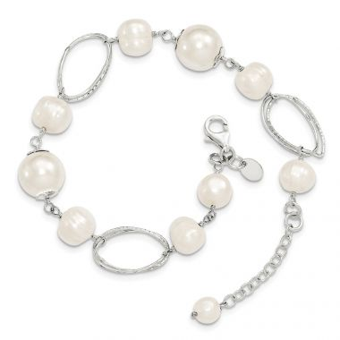 Quality Gold Sterling Silver FW Cultured Pearl 8.5in Bracelet