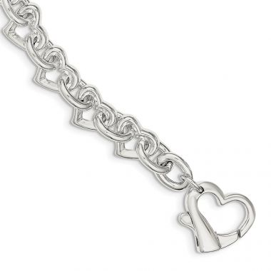 Quality Gold Sterling Silver 7.5inch Polished Fancy Heart Link Bracelet