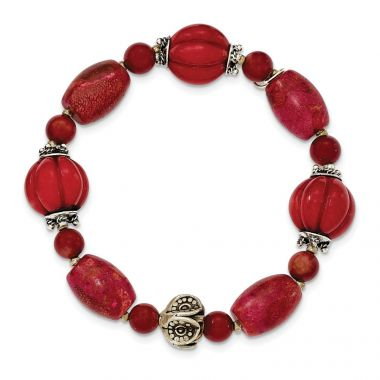Quality Gold Sterling Silver Antiqued Beads & Red Coral Stretch Bracelet