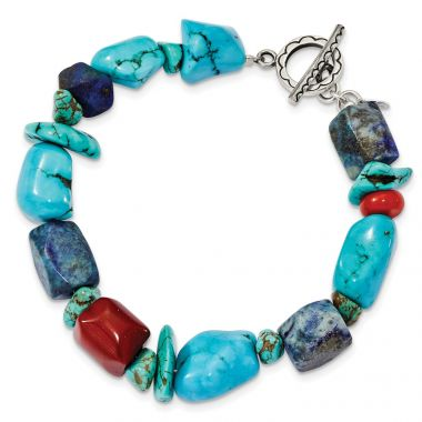 Quality Gold Sterling Silver Red Coral Howlite Lapis & Turquoise Bracelet