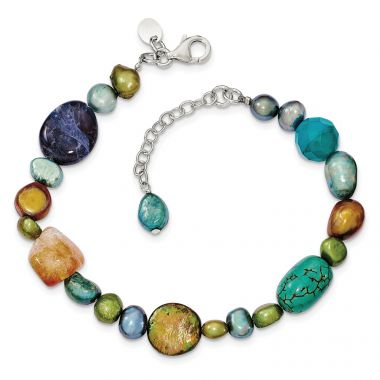 Quality Gold Sterling Silver Citrine Lapis Dyed Howlite FW Cultured Pearl Bracelet