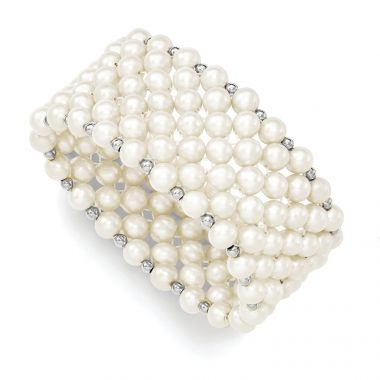 Quality Gold Sterling Silver White 6-7mm FW Cultured Pearl Stretch Bracelet