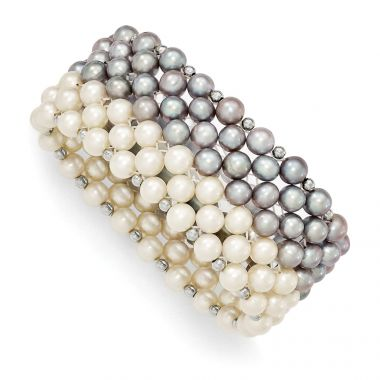 Quality Gold Sterling Silver White Grey 6-7mm FW Cultured Potato Pearl Stretch Bracelet