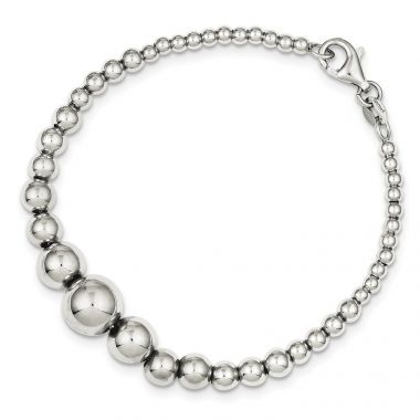 Quality Gold Sterling Silver Polished Graduated Round Bead Bracelet