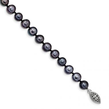 Quality Gold Sterling Silver Rhod-plated 7-8mm Black FW Cultured Pearl Bracelet