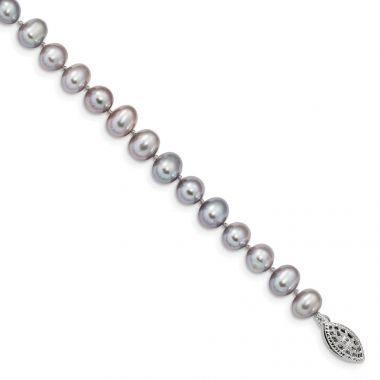 Quality Gold Sterling Silver Rhodium 6-7mm Grey FWC Pearl Bracelet