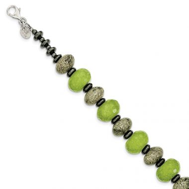 Quality Gold Sterling Silver Green Jade Serpentine and Hematite   Bracelet