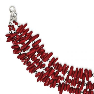 Quality Gold Sterling Silver Red Coral 3-Strand   Bracelet