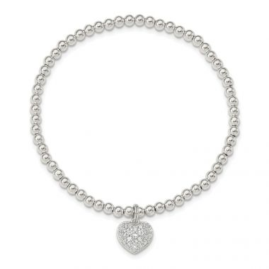Quality Gold Sterling Silver CZ Heart Stretch Bracelet
