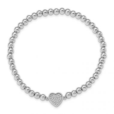 Quality Gold Sterling Silver Rhod-plated CZ Heart Beaded Stretch Bracelet