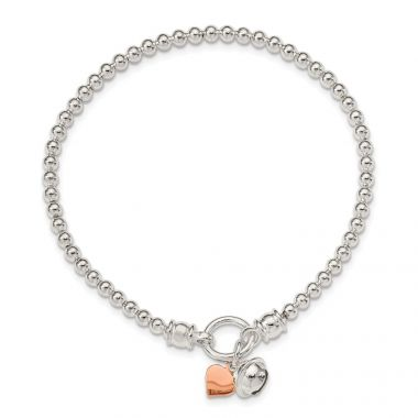 Quality Gold Sterling Silver Rose -tone Heart & Bell Stretch Bracelet