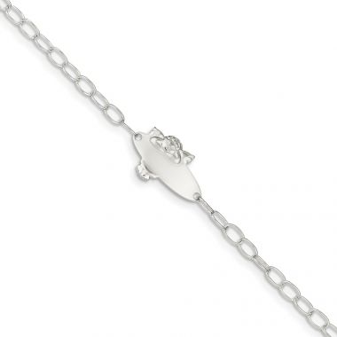 Quality Gold Sterling Silver Polished Angel Baby Engraveable ID Bracelet
