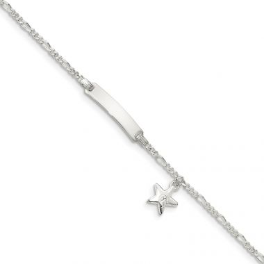 Quality Gold Sterling Silver Children's ID with Star Charm Bracelet