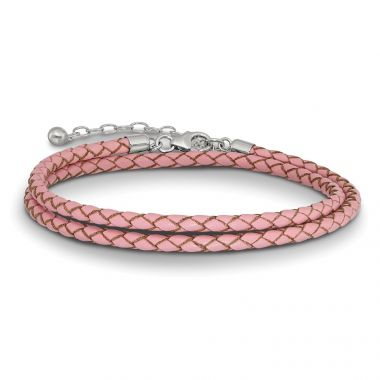 Quality Gold Sterling Silver Reflections Pink Leather 14in  2in ext Choker Bracelet