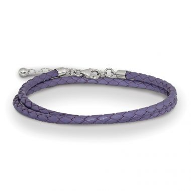 Quality Gold Sterling Silver Reflections Purple Leather 14in 2in ext Choker Bracelet