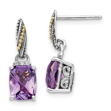 Quality Gold Sterling Silver 14k Diamond and Amethyst Dangle Post Earrings