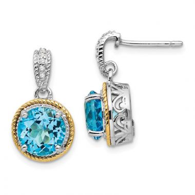Quality Gold Sterling Silver 14ky Blue Topaz Diamond Post Dangle Earrings