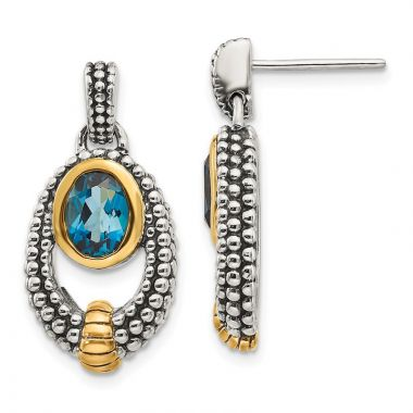 Quality Gold Sterling Silver Gold London Blue Topaz Dangle Earrings