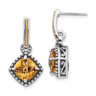 Quality Gold Sterling Silver 14ky Citrine Post Dangle Earrings
