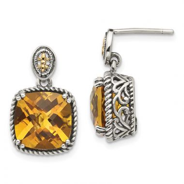 Quality Gold Sterling Silver 14k Citrine Dangle Post Earrings
