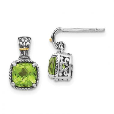 Quality Gold Sterling Silver 14k Peridot Dangle Post Earrings