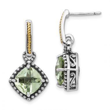 Quality Gold Sterling Silver 14ky Green Quartz Post Dangle Earrings