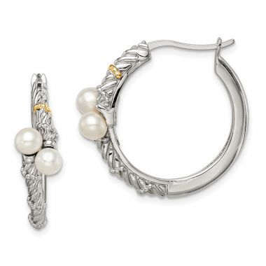 Quality Gold Sterling Silver 14k Polished White Pearl Hoop Earrings