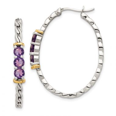 Quality Gold Sterling Silver 14k Accent Amethyst Hinged Hoop Earrings