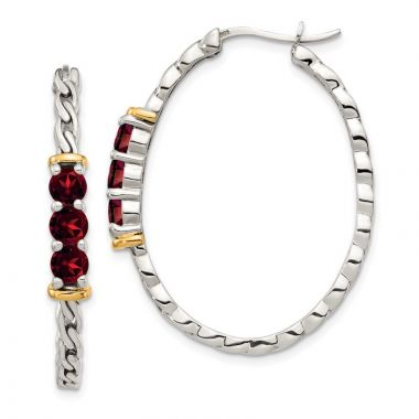 Quality Gold Sterling Silver 14k Accent Garnet Hoop Earrings