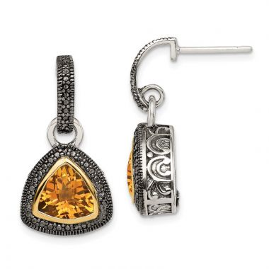 Quality Gold Sterling Silver 14k Accent Citrine Dangle Earrings