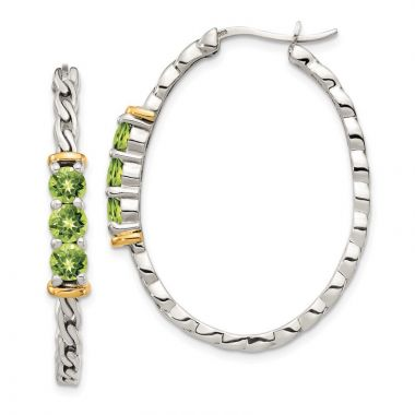 Quality Gold Sterling Silver 14k Accent Peridot Hoop Earrings