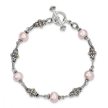 Quality Gold Sterling Silver Cultured Pink Pearl Bracelet