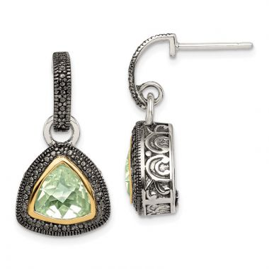 Quality Gold Sterling Silver 14k Accent Green Quartz Dangle Earrings