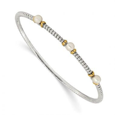 Quality Gold Sterling Silver Cultured Button Pearl Bangle Bracelet