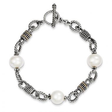Quality Gold Sterling Silver Cultured Pearl Bracelet
