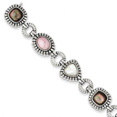 Quality Gold Sterling Silver Mother of Pearl Bracelet