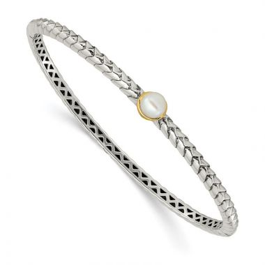 Quality Gold Sterling Silver Cultured Pearl Bangle Bracelet