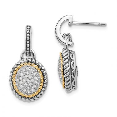 Quality Gold Sterling Silver 14k Antiqued Diamond Post Dangle Earrings