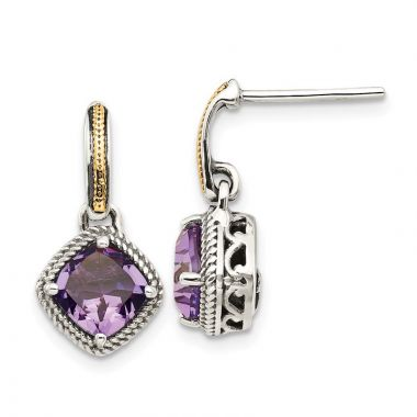 Quality Gold Sterling Silver 14k Antiqued Amethyst Post Dangle Earrings