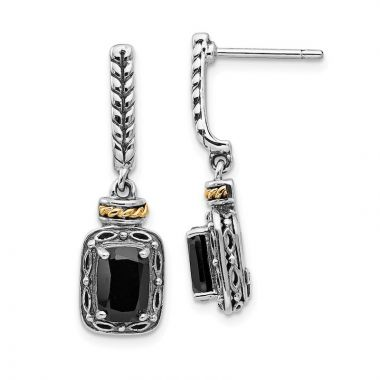 Quality Gold Sterling Silver 14k Antiqued Onyx Post Dangle Earrings
