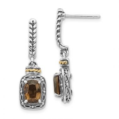 Quality Gold Sterling Silver 14k Antiqued Smoky Quartz Post Dangle Earrings