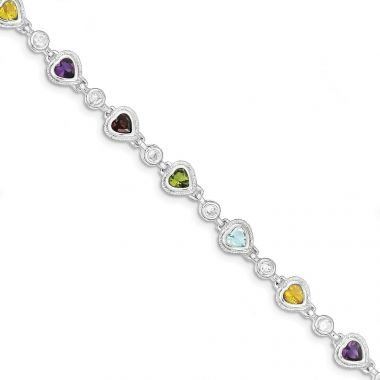 Quality Gold Sterling Silver Rhodium Plated Multicolored Gemstone Heart Bracelet