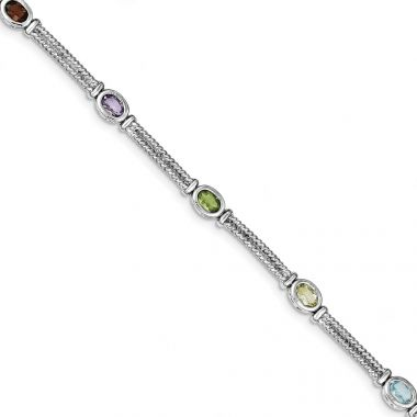 Quality Gold Sterling Silver Rhodium Plated Multi-Color Semi-Precious Bracelet