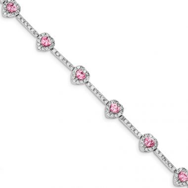 Quality Gold Sterling Silver 7inch Pink and Clear CZ Heart Bracelet