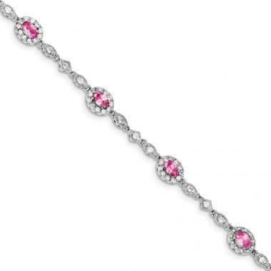 Quality Gold Sterling Silver Rhodium-plated Pink and Clear CZ Bracelet