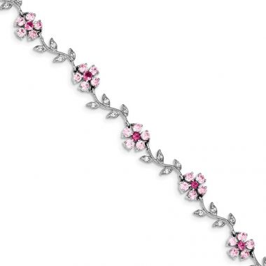 Quality Gold Sterling Silver Rhodium-plated 7.75inch Pink and Clear CZ Flower Bracelet